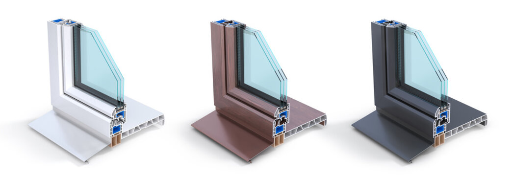 Slice of energy efficient window. See structure in cutaway. 3d illustration