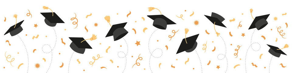 Graduation Class of 2021 with black graduate caps and gold confetti, ribbon. University, college school education vector background. - fototapety na wymiar