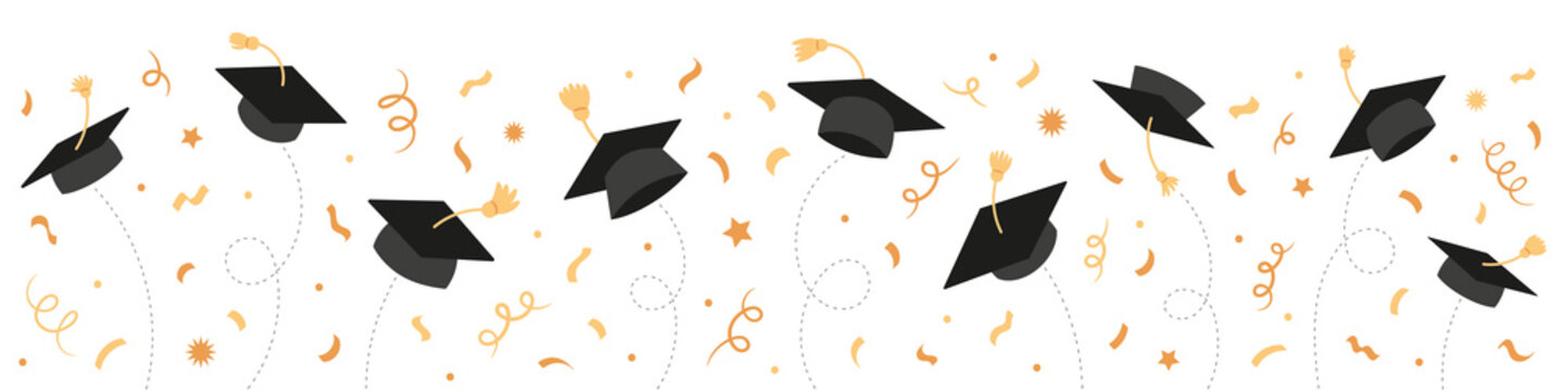Graduation Class of 2021 with black graduate caps and gold confetti, ribbon. University, college school education vector background.