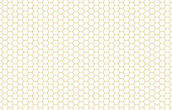 Honey hexagon bee hive yellow honeycomb pattern seamless background vector