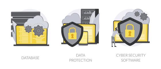 Fototapeta Cloud computing network safety abstract concept vector illustrations. obraz