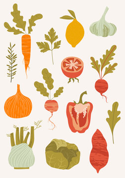 set of hand-drawn vegetables. Fresh organic food. Healthy food. Flat vector illustration.