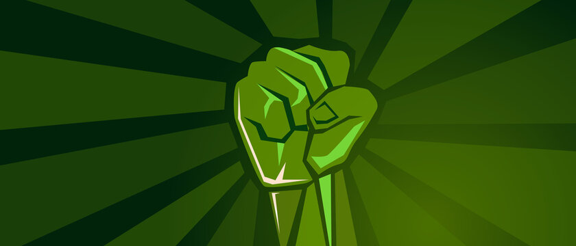 green revolution hand fist strong protest fight strength