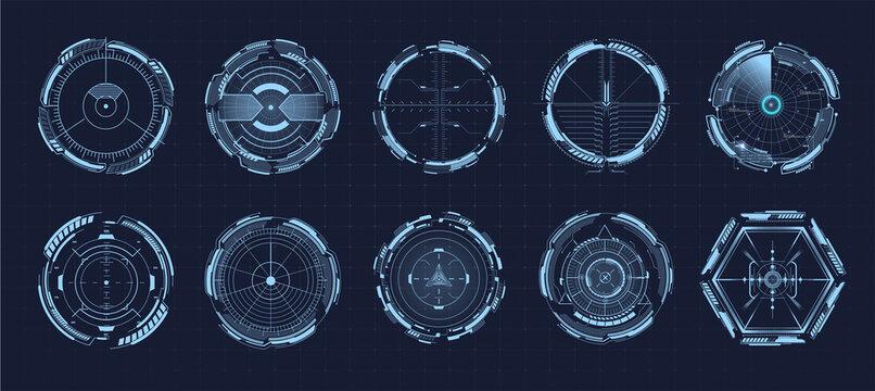 Modern aiming system ui, ux. Futuristic optical aim. Military collimator sight, gun targets focus range indication. Gaming and hi-tech. Sci-fi futuristic spaceship crosshair. Vector illustration