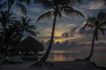 wschód słońca na karaibskiej plaży na Dominikanie w tle z palmami i z chmurami