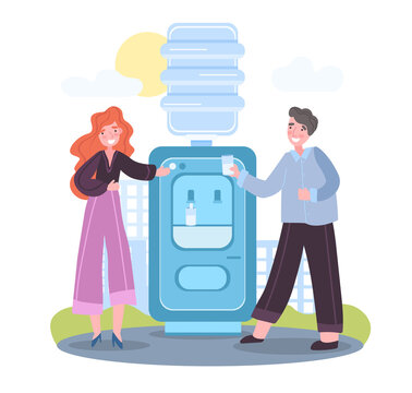 Employee talking to each other near water cooler