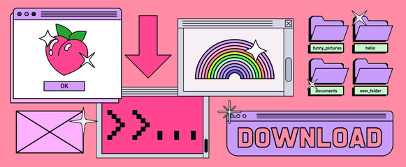 Fototapeta Retrowave style desktop with message boxes, terminal console window and user interface elements. Retro OS in vaporwave 80's vintage stylization. obraz