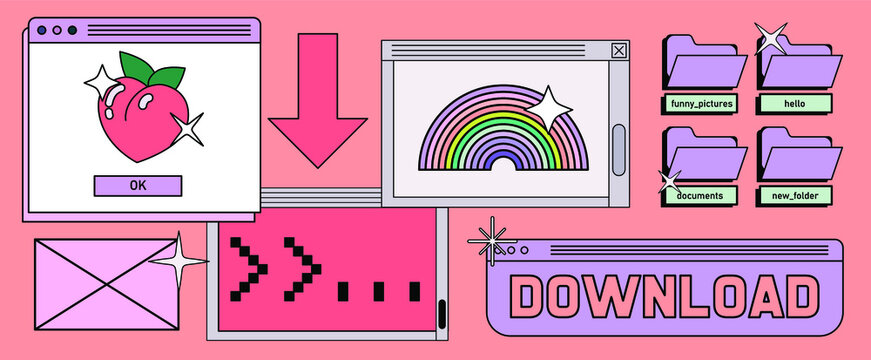 Retrowave style desktop with message boxes, terminal console window and user interface elements. Retro OS in vaporwave 80's vintage stylization.