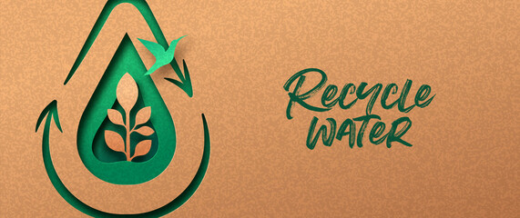 Obraz Recycle water green papercut nature banner concept - fototapety do salonu