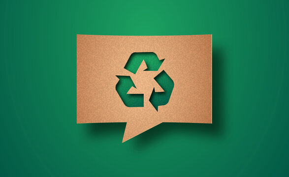 Recycle green nature paper cut chat bubble concept