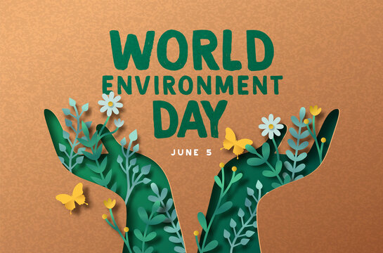 Environment Day green paper cut people hand card