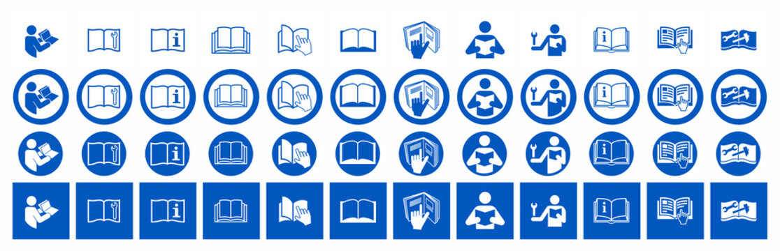 Set of Manual book symbols with hand. Read before use. Refer to instruction manual booklet mandatory signs