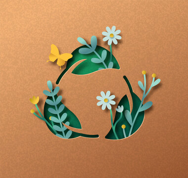 Biodegradable green leaf icon paper cut concept