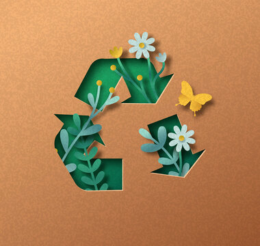 Downcycling green papercut nature concept isolated