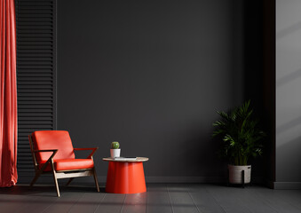 Living room interior wall mockup in black tones with red leather armchair on dark wall background. - fototapety na wymiar