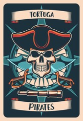 Obraz Pirates heraldic poster or t-shirt print. Vector vintage card with skull in cocked hat, wind rose and crossed sabers with spyglass and curled banners. Tshirt design with Jolly roger, tortuga pirates - fototapety do salonu