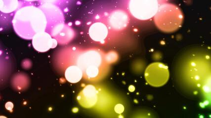 虹色のカラフルな浮遊する粒子のパーティクル