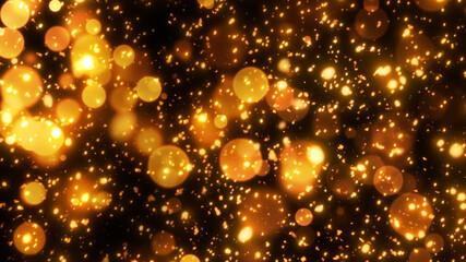 幻想的に金色に発光する火花と火の粉
