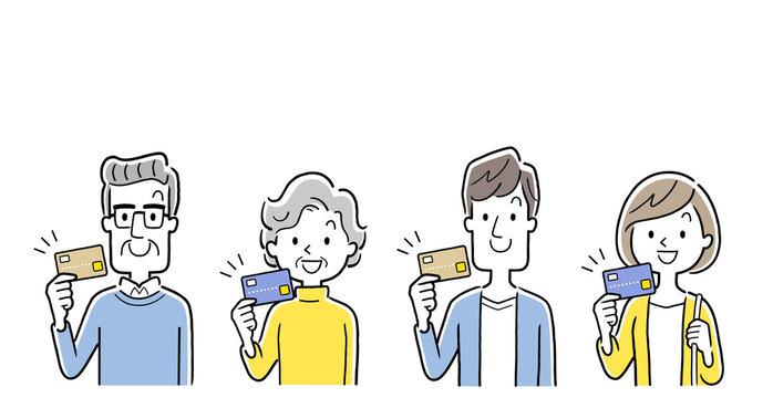 ベクターイラスト素材:クレジットカードを持つ若い世代とシニア世代