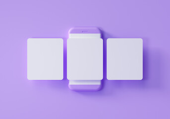 Obraz Minimal social media mockup, Smartphone with interface carousel and emojis post on social network on purple background. 3d render illustration. - fototapety do salonu