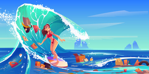 Pollution sea by plastic trash and garbage. Surfer girl swim in dirty water. Vector cartoon landscape of ocean with woman riding on surf board and floating waste, bottles, boxes and bags