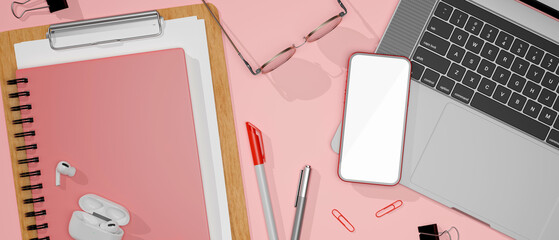Fototapeta Flat lay pink study table with smartphone, laptop, glasses and stationery, 3D rendering obraz