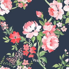 Beautiful vector seamless pattern with hand drawn watercolor summer pink gentle flowers. Stock floral illustration.