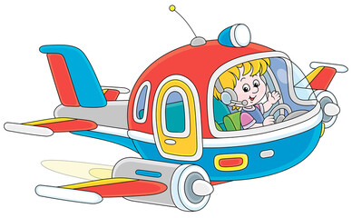 Fototapeta Happy little boy piloting a colorful toy high-speed jet plane on a playground, vector cartoon illustration on a white background obraz