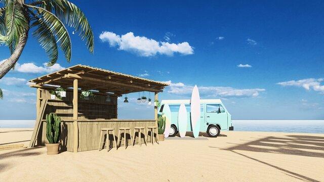 3d render from imagine summer beach bar in the sand with the sea beach bed bar counter beach bar