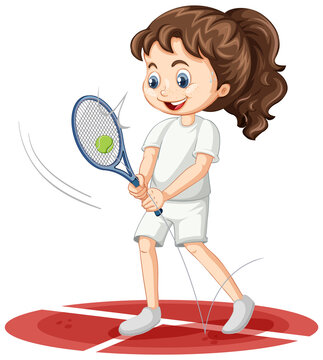 Cute girl playing tennis cartoon character isolated