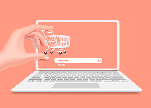 Hand holding a shopping cart in front of a laptop computer or notebook computer And there is an online shopping store search icon underneath and all object on pastel pink bacground,vector 3d isolated
