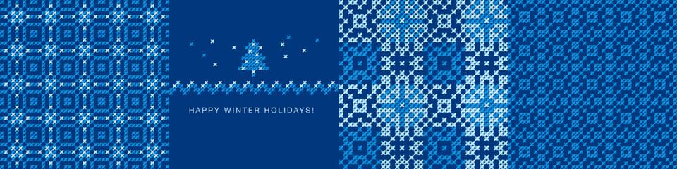 Simple laconic winter holiday seamless pattern set