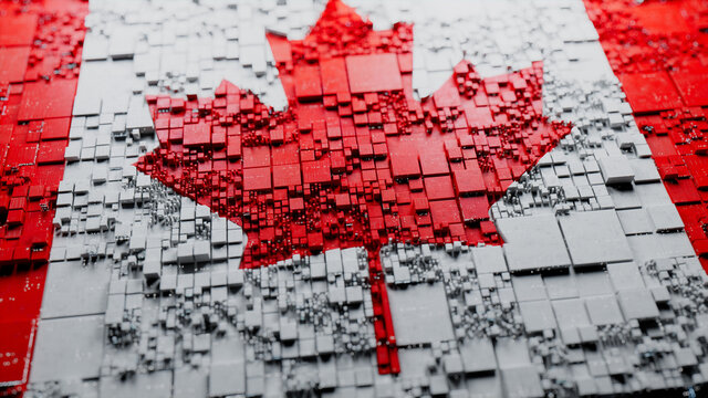 Colors of Canada rendered in a Futuristic 3D style. Canadian Innovation Concept. Tech Background.