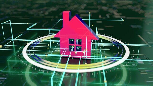 3D concept of a futuristic real estate market