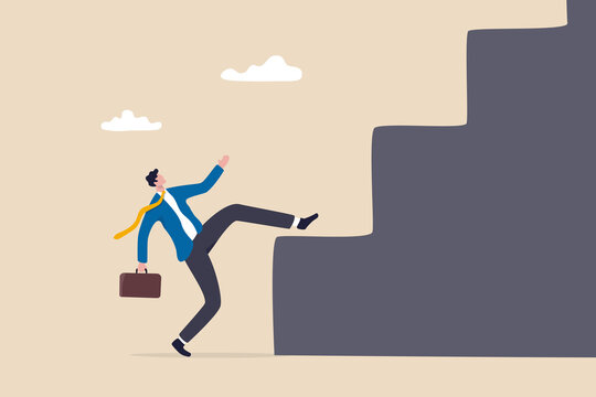 Business difficulty and challenge to overcome to achieve success goal, big step for career or adversity concept, businessman trying hard with full effort to climb up big step ladder or stairway.