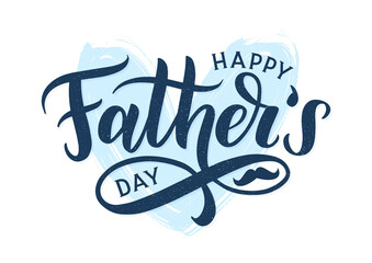 Happy fathers day typography poster. Modern calligraphy logo as fathers day greeting card template. Vector lettering card.