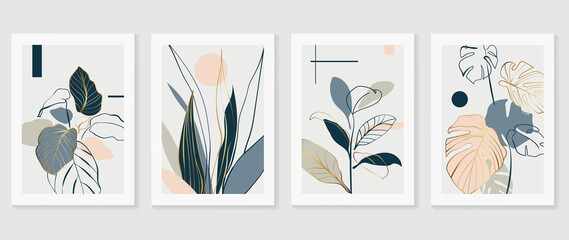 Fototapeta Botanical and gold abstract wall arts vector collection.  Golden and luxury pattern design with Tropical leaves line arts, Hand draw Organic shape design for wall framed prints, cover and poster. obraz