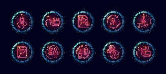 10 in 1 vector icons set related to business company management theme. Lineart vector icons in geometric neon glow style with particles