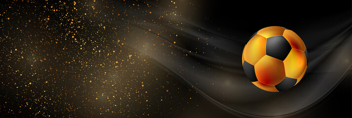 Fototapeta Luxury sport background with golden particles and soccer ball. Vector banner obraz
