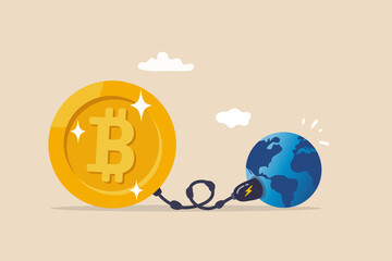 Obraz Cryptocurrency sustainability problem, bitcoin and crypto currency mining energy consumption not environment friendly concept, Big bitcoin with electric plug sucking energy from planet earth. - fototapety do salonu