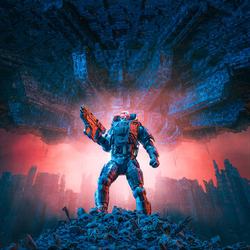 Cyberpunk soldier city warfare / 3D illustration of science fiction military robot warrior standing amid rubble in war torn futuristic city with with giant space ship in the sky above