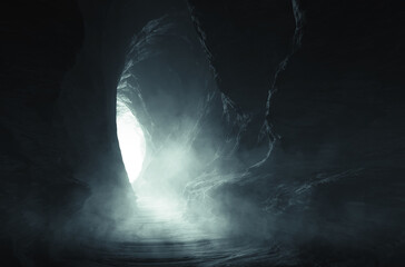 Fototapeta dark cave entrance, underground landscape obraz
