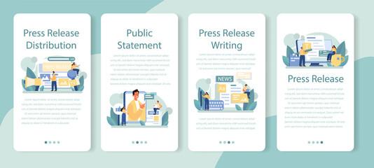 Fototapeta Press release mobile application banner set. Mass media publishing obraz