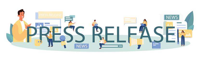 Fototapeta Press release typographic header. Mass media publishing, daily news obraz