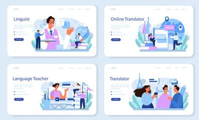 Fototapeta Translator web banner or landing page set. Linguist translating document obraz