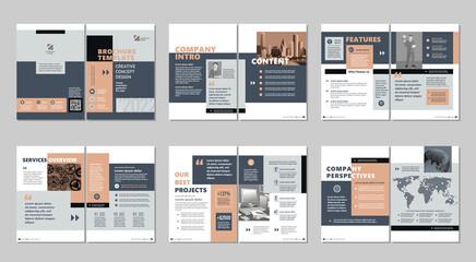 Obraz Brochure creative design. Multipurpose template, include cover, back and inside pages. Trendy minimalist flat geometric design. Vertical a4 format. - fototapety do salonu