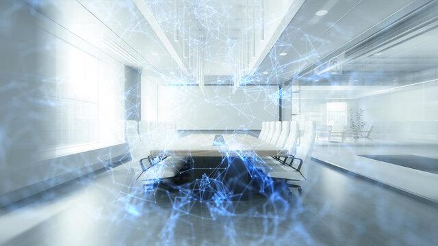 Virtuelles Netzwerk vor Tagungsraum als Verbindung