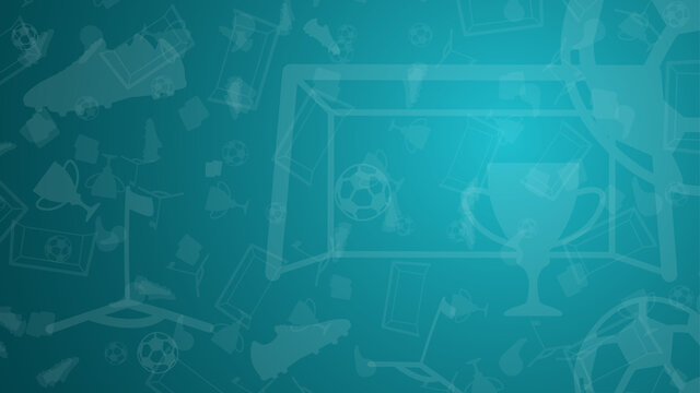 Abstract background with soccer elements for championship. Cup, goal, ball, football boots, flag on a blue background. Template 2021. Vector