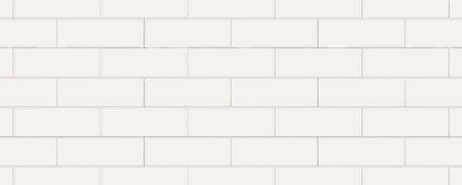 White horizontal rectangle marble ceramic tiles. Vector illustration.