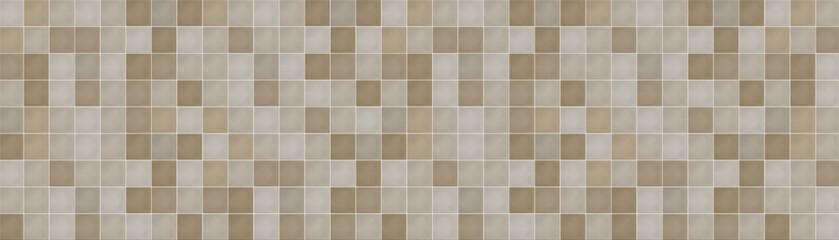 Obraz Classic ceramic brown mosaic wall tiles background. Brown mosaic tile texture. - fototapety do salonu